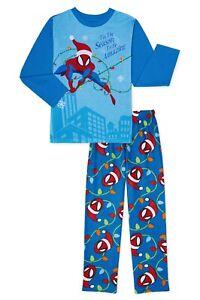 Spiderman Pajamas Size 6-7, 8 10-12 Boys Winter Holiday Christmas Set Fleece NEW