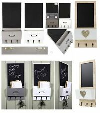Letter Rack Holder With Key Hooks Shaby Chic Chalk board Wall Organiser Vintage