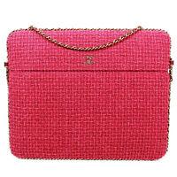 Chanel - Pink Tweed Large Crossbody Bag - Rare CC Laptop iPad Chain Around Flap