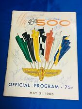 Indianapolis Indy 500 1965 Official Program MULTIPLE AUTOGRAPHS COVER Estate
