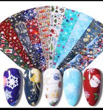 10 X Christmas Xmas Nail Art Foils Transfer Foil Wraps Decal Glitter Sticker