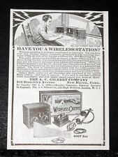 1920 OLD MAGAZINE PRINT AD, GILBERT SCIENCE TOYS, HAVE YOU A WIRELESS STATION!