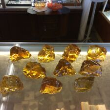 Lot 10 Pc Amber Yellow 6# Slag Glass Cullet Rock Landscaping Aquarium Stone