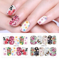 10 Sheets LEMOOC Flowers Nail Water Stickers Nail Art Transfer Stickers