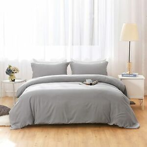 NEW Duvet Covers Queen Size Ultra Soft Gray Color with 2 pillow shams 90 X 90
