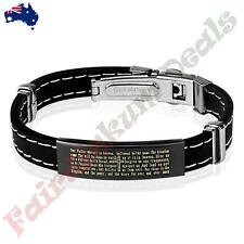 Lords Prayer Black Plated Stainless Steel ID Plate Stitch Accent Rubber Bracelet