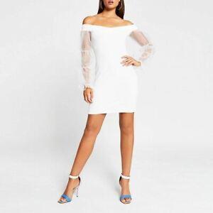River Island Womens White Organza Puff Sleeve Bardot Mini Dress