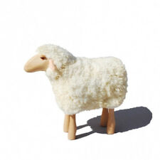 Meier * Germany Sheep Lamb with Real Fur Light Brown Wood Pale Fur Life Large NEW