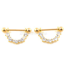1Pair Clear CZ Filigree U Drop Gold Plated Nipple shield Rings Barbell Barbells