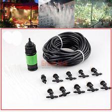 30M Garden Patio Water Misting Cooling System Sprinkler Nozzle Hose Mister Set