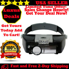 Magnifying Glass Lens Lamp Visor Jeweler Head Loupe LED Light Headband Magnifier