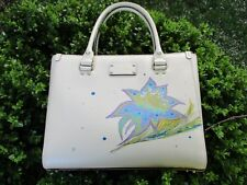 Porcelain White Kate Spade Hand Painted Fantasy Floral Leather Quinn Satchel Bag