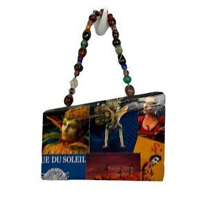 CIRQUE DU SOLEIL Artsy Asymmetric Glass Bead Handle Wood Box Purse Hand Bag OAAK