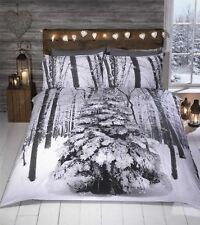 SPARKLY GLITTER CHRISTMAS TREE WHITE SILVER GREY KING SIZE 4 PIECE BEDDINGSET