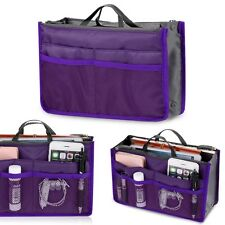 Women Travel Insert Handbag Organiser Purse Large liner Tidy Bag Pouch -PURPLE