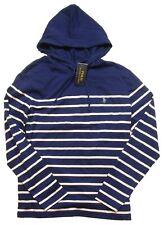 Polo Ralph Lauren Men's Fall Royal Blue Stripe Pullover Hooded T-Shirt Hoodie