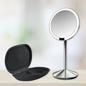 Simplehuman brushed stainless steel 10x round travel mini sensor LED mirror fold