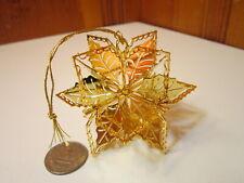 1990 Danbury Mint 20kt Gold Electroplated Poinsettia Cube Christmas Ornament Euc
