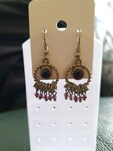 BNWT Silvery Grey Pink & Burgundy Beaded Chandelier  Earrings