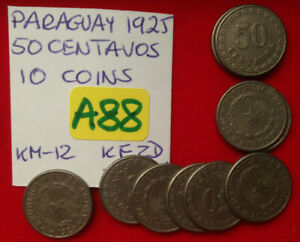 A88 Paraguay; 10 Coins Lot; 50 Centavos 1925 KM#12  circulated