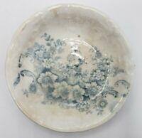 "Antique 3"" Butter Pat Porcelain Blue & White Transferware Floral Scalloped 1800s"