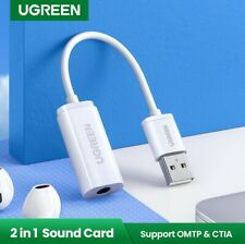 Ugreen Sound Card USB External Stereo Audio Adapter for 3 5mm Micro a Helmet