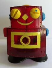 VINTAGE PLASTIC AND TIN FRANKONIA PRODUCTS NUTS N' BOLTS RED ROBOT TOY AS IS