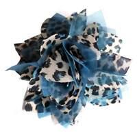 Pince à cheveux bibi fleur broche léopard organza bleu blanc cérémonie mariage