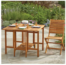 Westerly Acacia Wood Folding Outdoor Patio Deck Dining Table, Space Saving Table