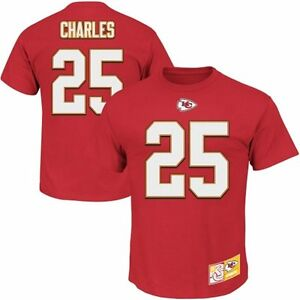 Mens Kansas City Chiefs Jamaal Charles Majestic Red Name & Number T-Shirt