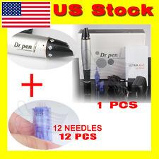Electric Dr.Pen Derma Pen Stamp Auto Micro Needle Roller+12Needles Cartridges*12