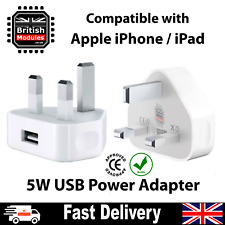 USB Power Adapter CE Charger Wall Plug for Apple iPhone X 8 7 6 iPad UK Mains