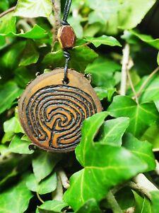 Wild Cherry Wood Labyrinth Pendant - Passion - Meditation - Pagan, Witchcraft