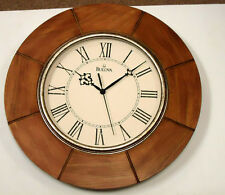 "BULOVA WALL CLOCK - DAKOTA- 14"" WEATHERED LIGHT OAK FINISHC4223"
