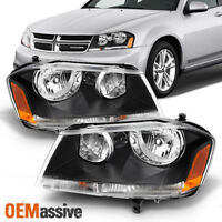 Fits 08-17 Dodge Avenger Black Replacement Headlights Headlamps Left + Right