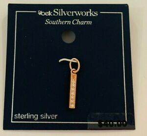 Belk Silverworks Southern Charm Sterling Silver /Rose Gold Bar with crystals,
