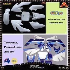 For CRF50 XR50 DIRT PIT BIKE CRF 50 White Plastics + Blue Graphics Decal Sticker
