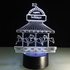 Luce Notturne Acrilico Carrousel Merry-go-round Whirligig Galloper Lampada LED