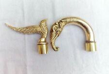 Vintage Brass Walking Stick Designer Handles Combo Eagle and Elephant Head