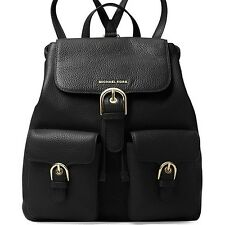 New! Michael Kors SUSIE Small Flap Leather BackPack BLACK NWT $378