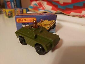 1973 Matchbox Rolamatics #28 Green Army Stoat Scout Car Tank - England (Mint)