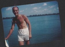Old Vintage Photograph Sexy Shirtless Man in White Shorts By Water Gay Interest