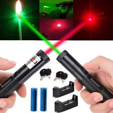 2x 990miles Assassin Red&Green Laser Pointer Single Beam Lazer Torch+Batt+Char