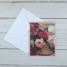 Greeting Note Cards Pink Floral Flowers 6 Count Blank Inside