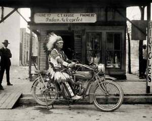 1920'S INDIAN MOTORCYCLE VINTAGE NATIVE AMERICAN CHIEF 8X11 PHOTO POSTER PICTURE