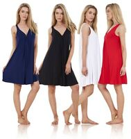Ladies Gorgeous Plain Beach Dress Holiday Sleeveless Summer Loose Short
