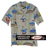 American Graffiti Themed Casual Shirt - Light Tan - Small