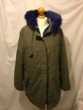 (162) Boden khaki blue fur lined Revenglass parka hooded coat size UK 16