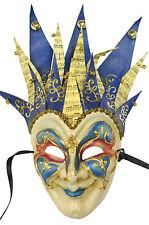 Brand New Mardi Gras Masquerade Jester Musica Paper-Mache Mask (Blue/Blue)