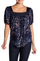 Lucky Brand NEW Women's Size Small Navy Blue Floral Peasant Blouse Top $59